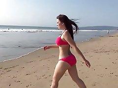 Amateur, Beach, Brunette, Interracial