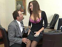 Brunette, Office, Big Tits, Boobs