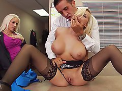 Blonde, Big Tits, Office, Stockings