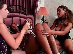 Handjob, Threesome, Interracial, Brunette